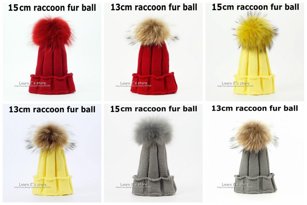Мода зимы детей енот лиса меховая шапка для девочек мальчиков 100% натуральный мех pompoms мяч ребенок шапочки Cap вязание дети вязаные шапки