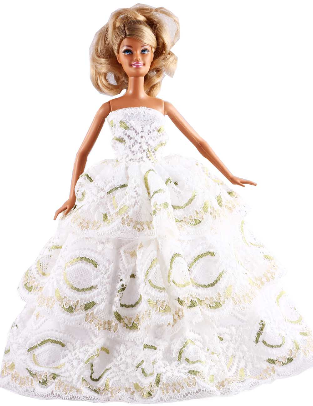 "New Fashion Handmade Three Tier White Lace Dress/Party Dress Clothes Gown For 11"" Barbie Doll D1096(China (Mainland))"