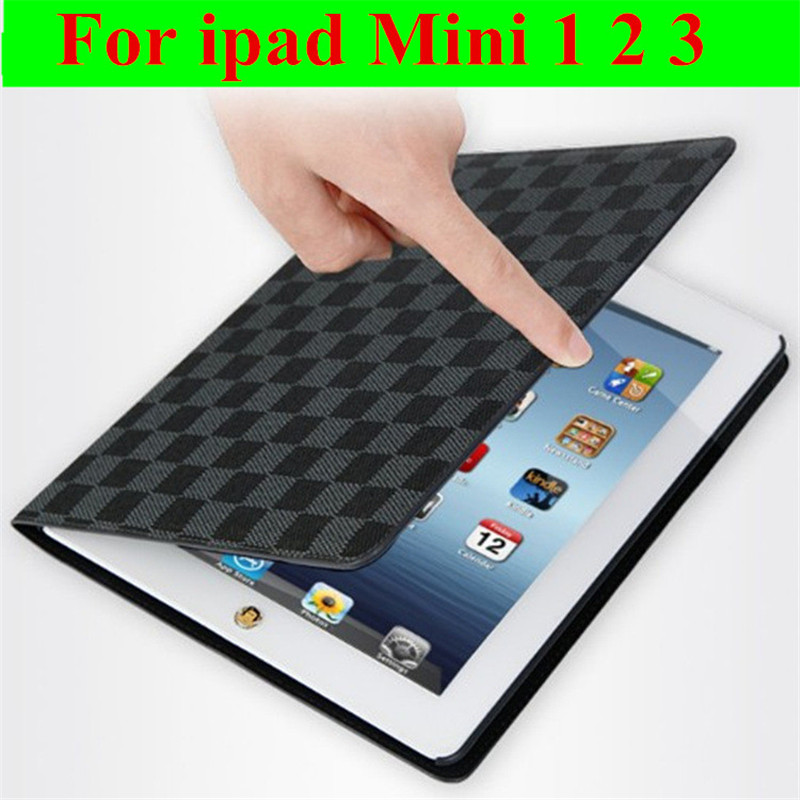 Hot sale Fashion Flip Ultra Thin Stand Book Plaid Leather Cases Smart cover For ipad Mini 1 2 3 automatic sleep free shipping(China (Mainland))