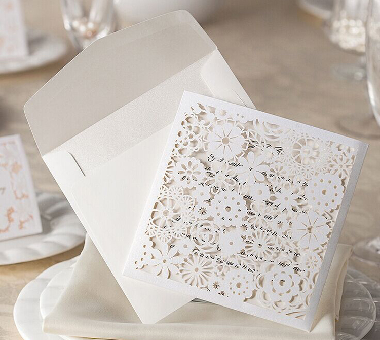 Vintage Elegant Embossed White Lace Flower Wedding Invitations Cards Free Shipping Custom Made Wedding Accessories 50pcs/Lot(China (Mainland))