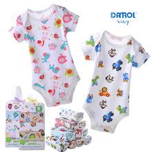 Baby bodysuits 5PCS 100%Cotton Infant Short Sleeve Clothing Jumpsuit Printed Baby Boy Girl Bodysuits #133ssy(China (Mainland))