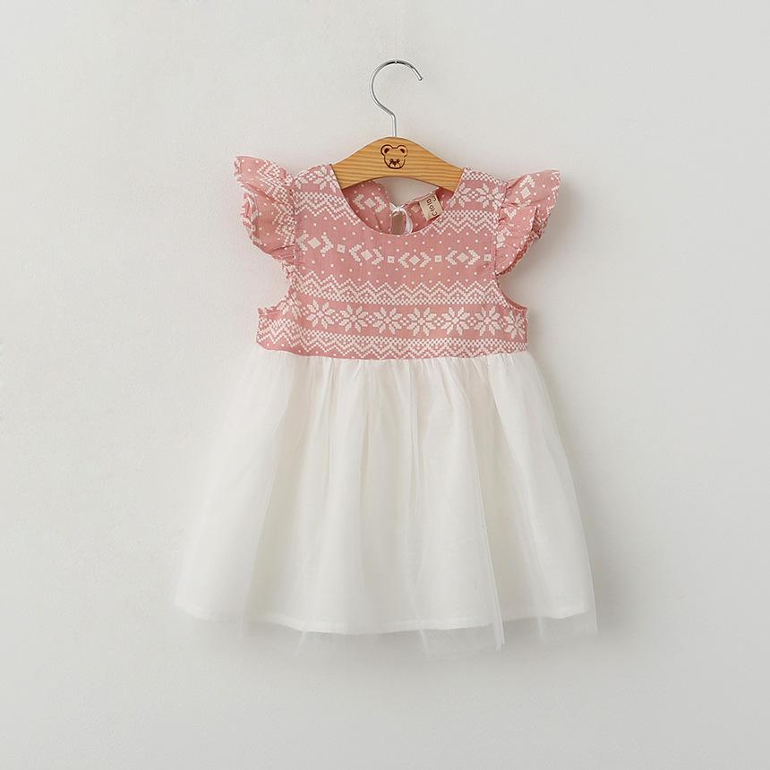 2016 Baby Girls Snow Flower mesh Dresses Kids Girl Summer Ruffle Sleeve Dress Babies Princess tutu Dress Children's Clothing