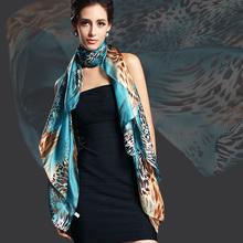2016 New Design Women Leopard Print Pure Silk Scarf,180*110cm Brand Mulberry Silk Design Long scarf Wraps For Autumn,Winter(China (Mainland))