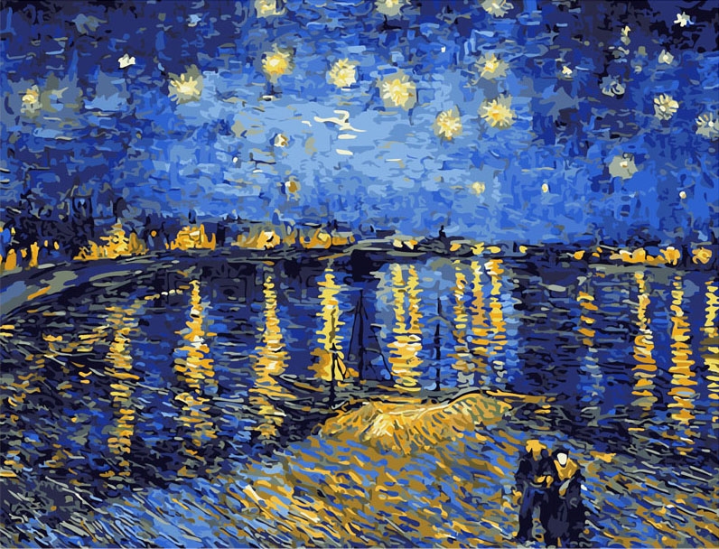 Best Pictures DIY Digital Oil Painting Paint By Numbers Christmas Birthday Unique Gift Van gogh starry sky of the rhone river(China (Mainland))