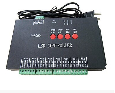 New T-8000 SD Card Programmable RGB LED strip Controller Led pixel controler Free Shipping(China (Mainland))