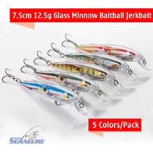 New Arrival Seanlure Fishing Lure 9cm 12g Glass Minnow Baitball Jerkbait 5 colors/lot with 4# hooks fishing tackle