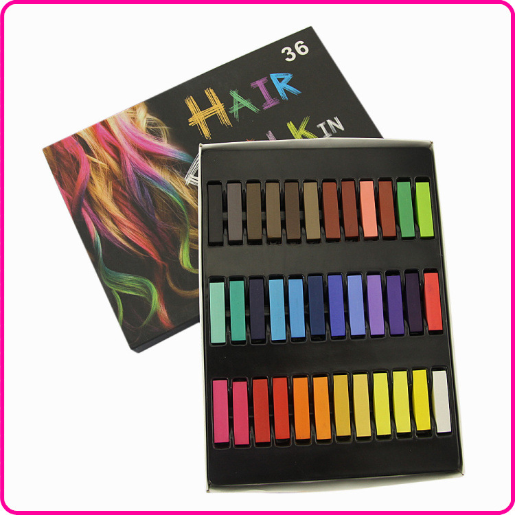 Factory Directly Wholesale36 Colors Hair Dye Easy Temporary Colors Non-toxic Hair Chalk Soft Pastels Kit Hair Color(China (Mainland))