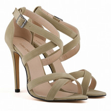 Size 5-10 Authentic Peep Toe Flock Sexy High Heel Sandals 2015 New Women Summer Fashion Stiletto Pumps Shoes 102-1 Free Shipping