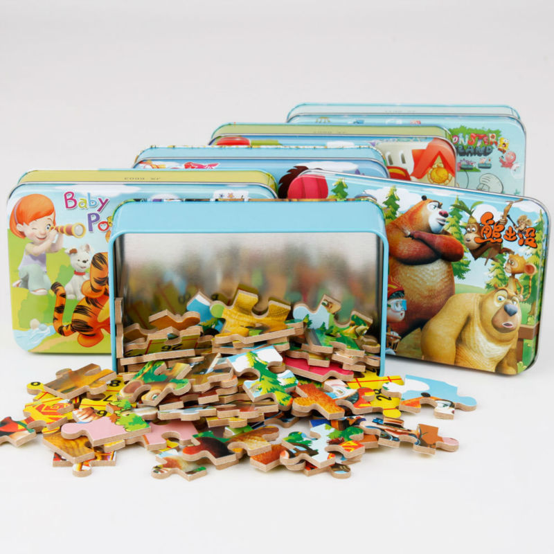 Гаджет  Free Shipping 60 pcs/set Iron Box Cartoon Wooden Puzzles for Children,Kids Toddler Early Educational Jigsaw Toys None Игрушки и Хобби