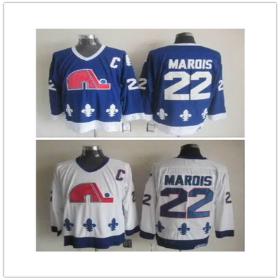 Hot Sale 2014 Mario Marois Quebec Nordiques Jersey #22 Home Road Away Men's Cheap 100% Polyester Ice Hockey Uniform(China (Mainland))