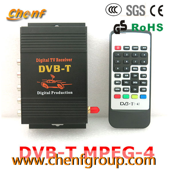 Free Shipping One Piece Sale Mobile Car DVB-T DVBT MPEG-4 Digital TV receiver Box with Antenna(China (Mainland))