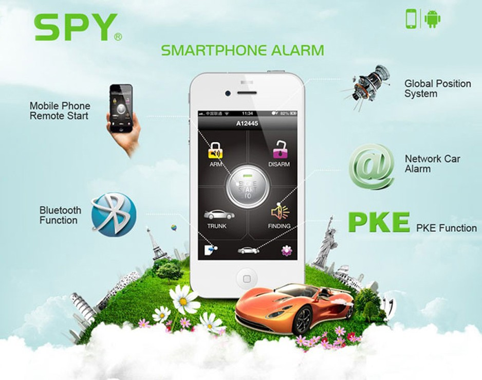 CE FCC Approved SPY 2 way Smartphone Engine Start Car Alarm + GPS Tracking Security System Real-time Global Position Car Tracker
