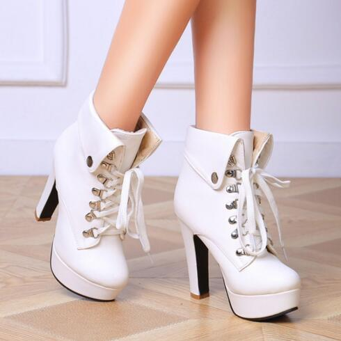 Фотография 2016 Fashion Spring/Autumn Women Boots Thick With Lace-Up Platform Ankle Martin Boots Ladies Botas Mujer Zapatos Mujer 0.9/2