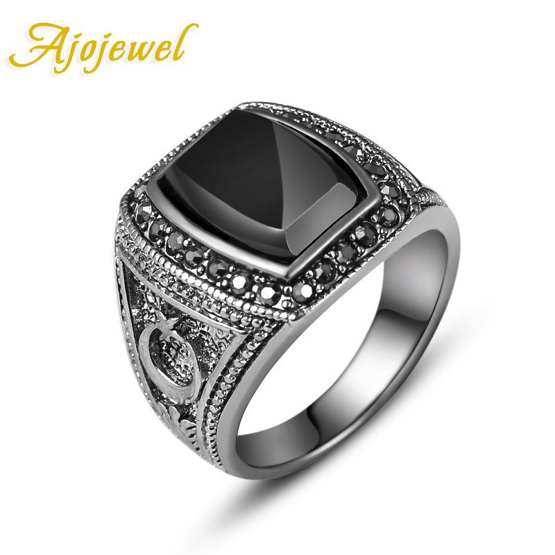 Ajojewel Size 8-11 Moon & Star Designer 18K White Gold Plated Black Stone Male Ring Finger(China (Mainland))