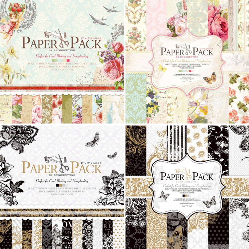 12 inch Vintage Paper Pack For Scrapbooking and Cardmaking Creative Metaillic Scrapbook Paper(China (Mainland))