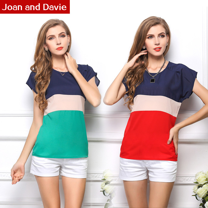 Fashion 2015 spring summer women's clothing bat wing short sleeve chiffon shirts casual striped feminine blouses plus size - Joan and Davie store