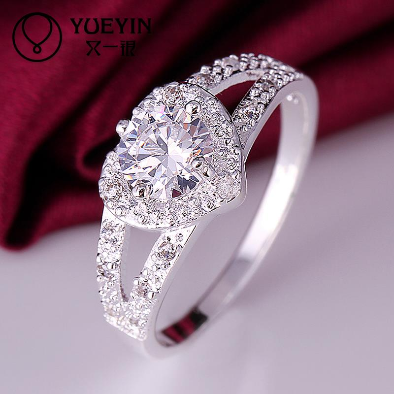 2014 SALE joias 925 Silver ring aneis heart love zircon CZ Simulated Diamonds Fashion Acessories ring aneiss Engagement Jewelry(China (Mainland))