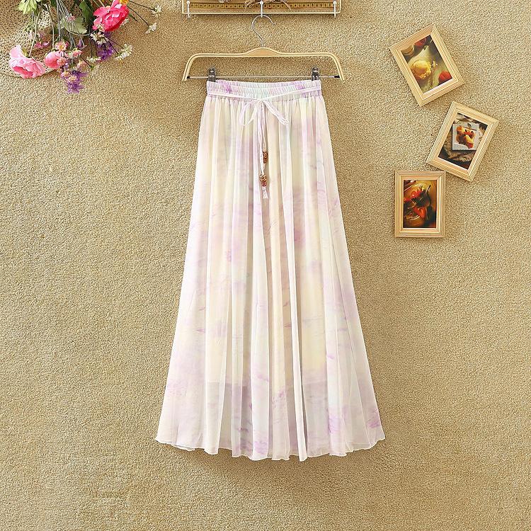 6 цветов красивая богема Fsahion лето стиль фреш печать большой юбки длинная юбка женщины юбки