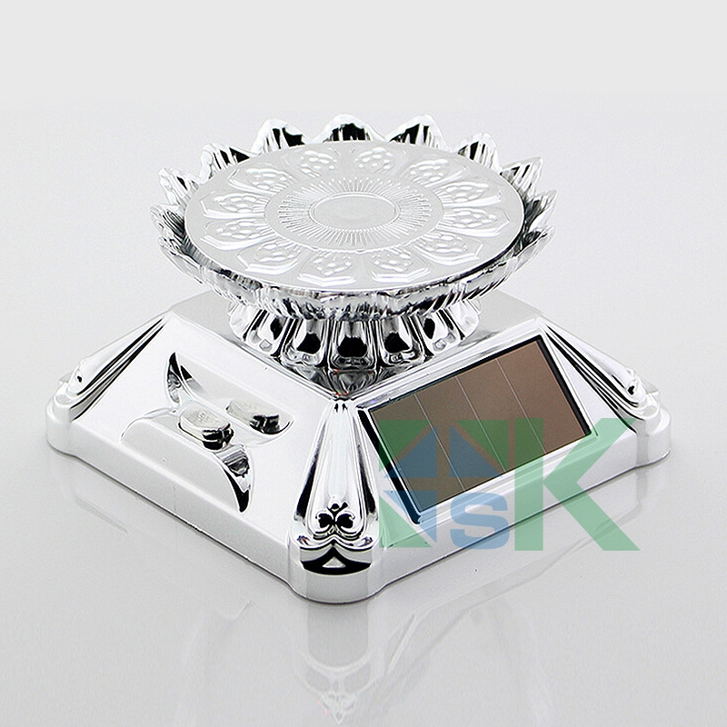 1pcs Rotating Solar Coin Display Base Coin Display Stand Holder With LED Light Lotus Flower tray 360 Turnable Rotary Base(China (Mainland))