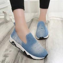 Hot! Flat Shoes Women Casual Shoes 2016 Spring Summer Canvas Platform Denim A Pedal Lazy Shoes loafers Flats Single Female Shoe
