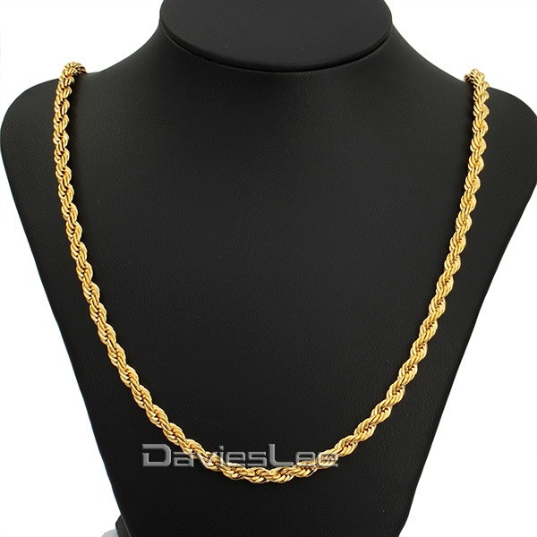 Classic Mens Chain ROPE LINK Womens Necklace 18k Gold Filled Wholesale Jewelry Party Daily Wear DLGN249(China (Mainland))