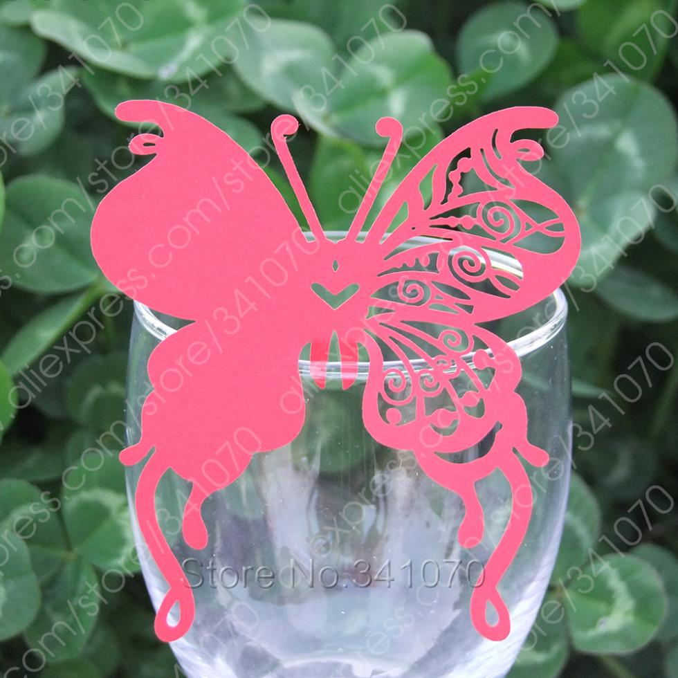 Laser Cut Butterfly Paper Place Cards/ Cup Wine Glass Escort Cards Wedding Favors Party Decor, -HD514 - Supplies Shop store