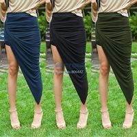 NEW 2014 Elegant Women's Summer Autumn Irregular Sweep Slim High Waist Bag Basic Skirt Bust Skirt Boho Skirts 18
