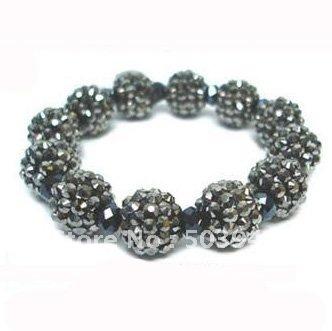 fashion 12mm stretch shamballa hematite rhinestone bracelet