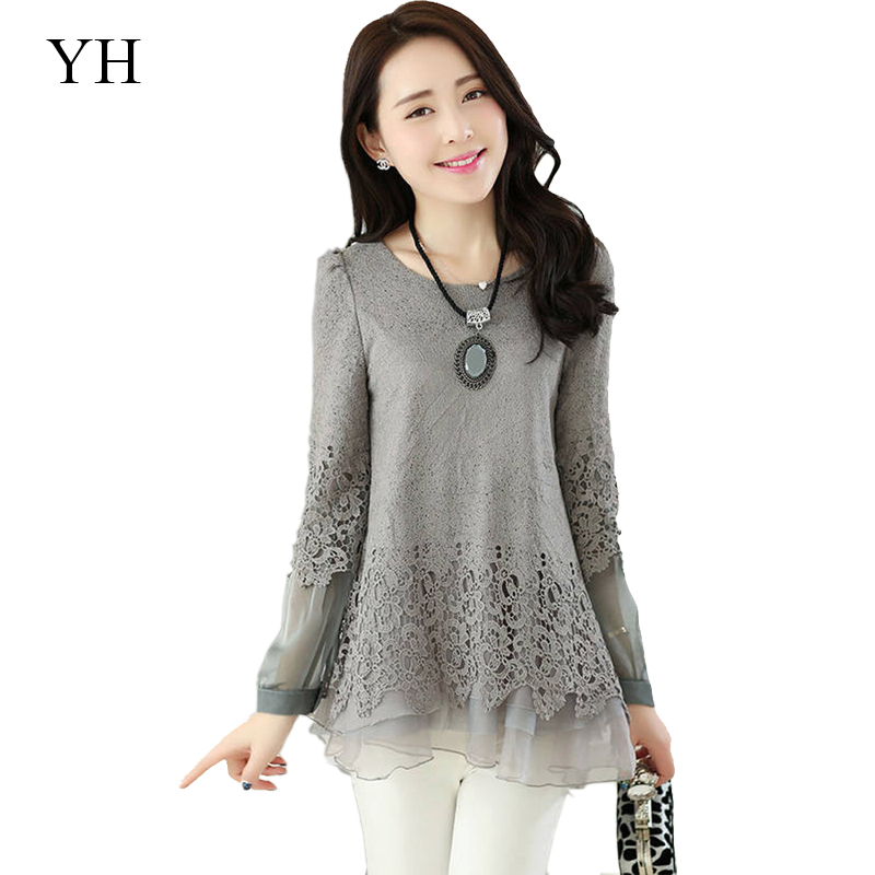 Wonderful Lace Blouses Shirt Women Long Sleeve Ladies Lace Blouse Women Tops
