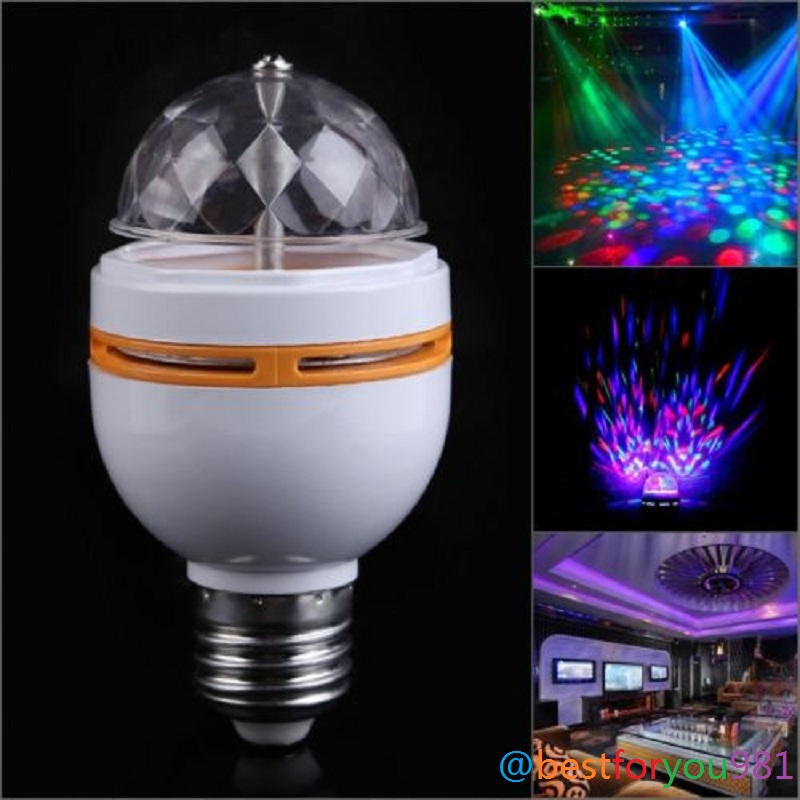 Hot Selling 1PCS E27 3W RGB Crystal Ball Rotating LED DMX Stage Light Bulb Fr Club DJ Disco Party Light New Free Shipping(China (Mainland))