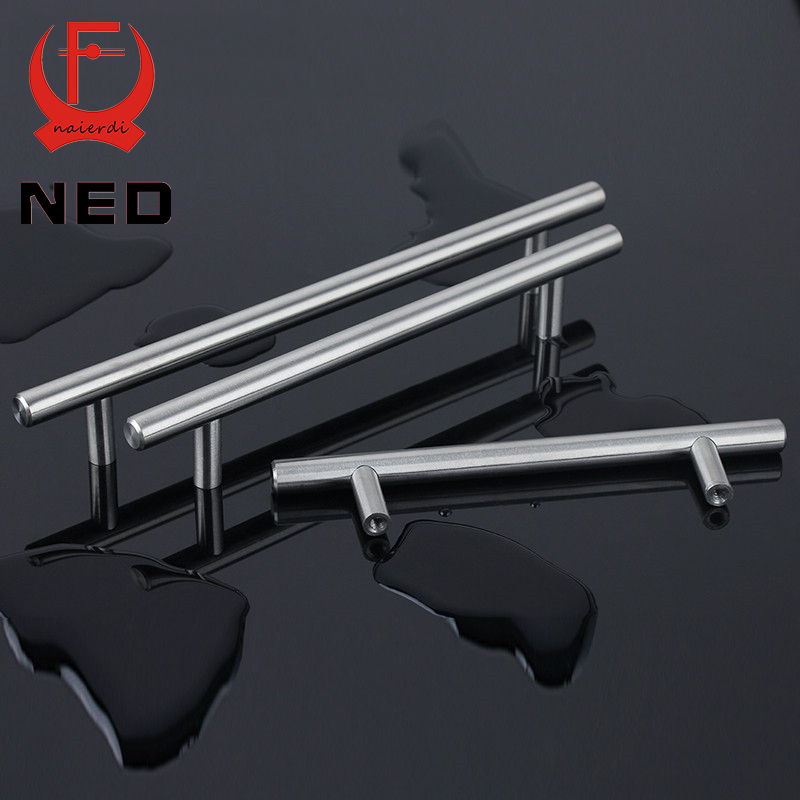 """NED 4"""" ~ 24'' Stainless Steel Handles Diameter 10mm Kitchen Door Cabinet T Bar Straight Handle Pull Knobs Furniture Hardware(China (Mainland))"""