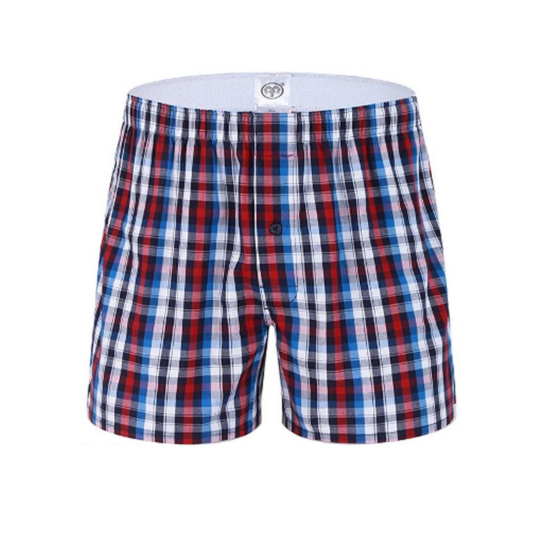 2016 Hot Sale Men Male Underwear Full Cotton Men's Boxer Underwear Sexy Plaid Cotton Underpants(China (Mainland))