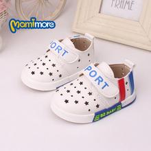 2016 New Spring  Korean Tide Boys And Girls Shoes Baby Toddler Shoes Soft Bottom Comfortable Prewalker White Blue And Red Flat(China (Mainland))