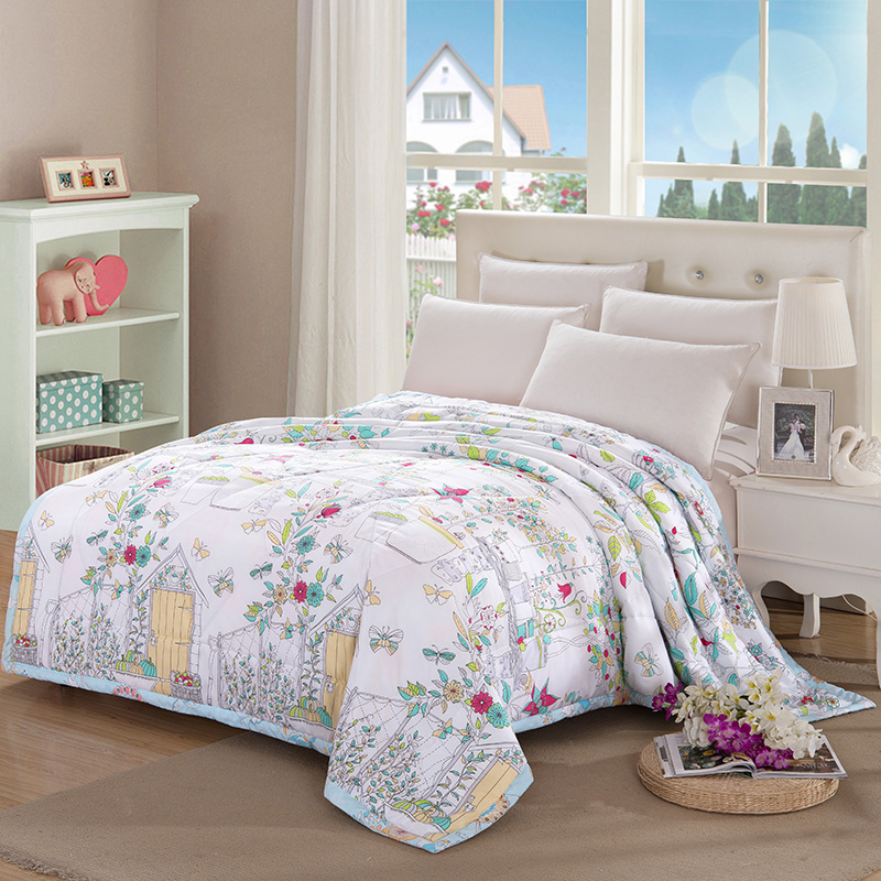 fashion printed cotton material filling silk air conditioning mechanical wash quilt 150x200cm 180x200cm 200x230cm bed quilts(China (Mainland))