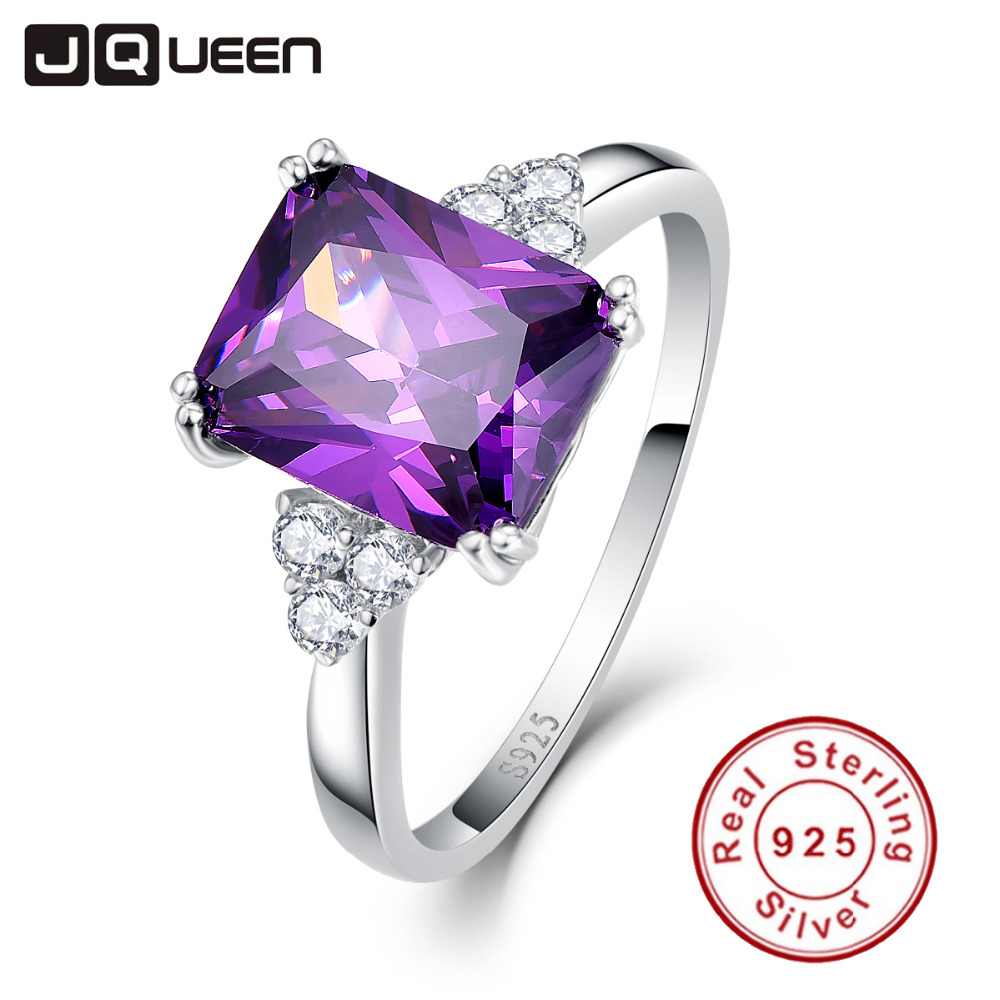 Vintage Jewelry 5.25ct Amethyst 925 Sterling Silver Ring emerald Cut Purple Nature stone Women Wedding Anel Aneis Gemstone Rings(China (Mainland))