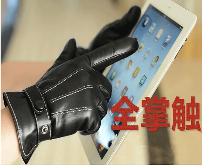 Top Quality Genuine Leather Gloves For Men Thermal Winter Touch Screen Sheepskin Glove Fashion Slim Wrist Driving Special Offer