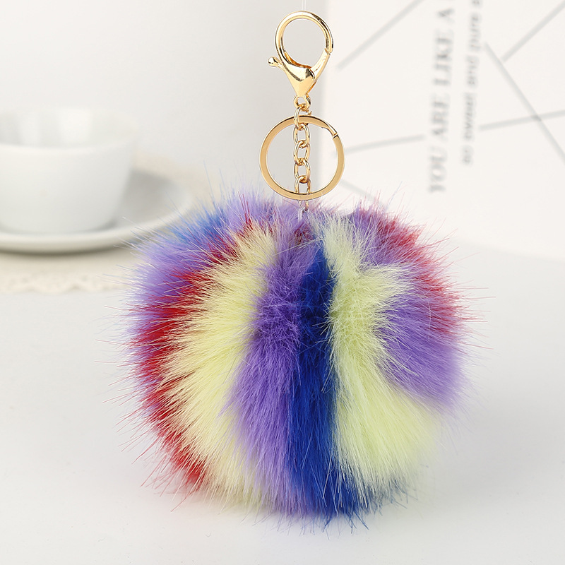 11cm Dia Multicolour Fur Ball Cell Phone Car Keychain Pendant Handbag Charm Key Chain PomPom Charm Keyring(China (Mainland))