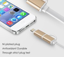 Brand New Hot 1M 2 in 1 Metal Dual Mobile Phone Date Cable For iphone 5 / 6 / 6 plus Samsung HTC Sony Micro USB Top Quality Line