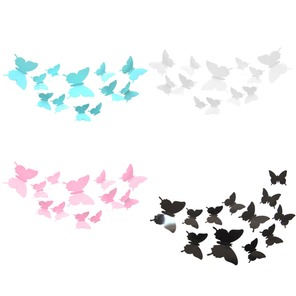 Wall Stickers /2015 latest styles/12 Pcs 3D Butterfly Decal Wall Stickers Art Design Home Decor Room Decorations(China (Mainland))