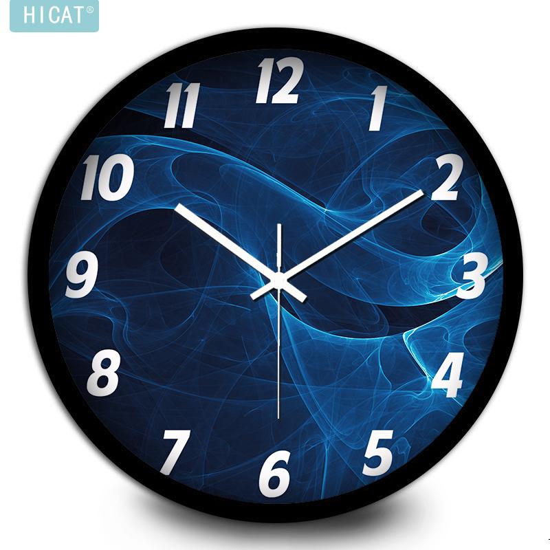 HICAT crazy cat personality minimalist fashion scene blue smoke wall living room wall clock electronic quartz watch(China (Mainland))