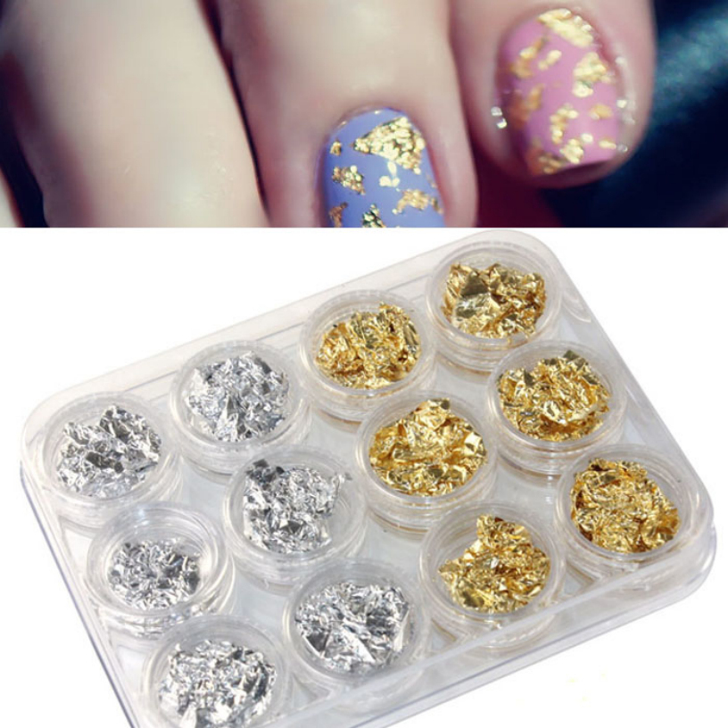 1 set Nail Art Gold Silver Paillette Flake Chip Design Tips Decoration Foil DIY Acrylic UV Gel Stickers Nail Art Tools(China (Mainland))
