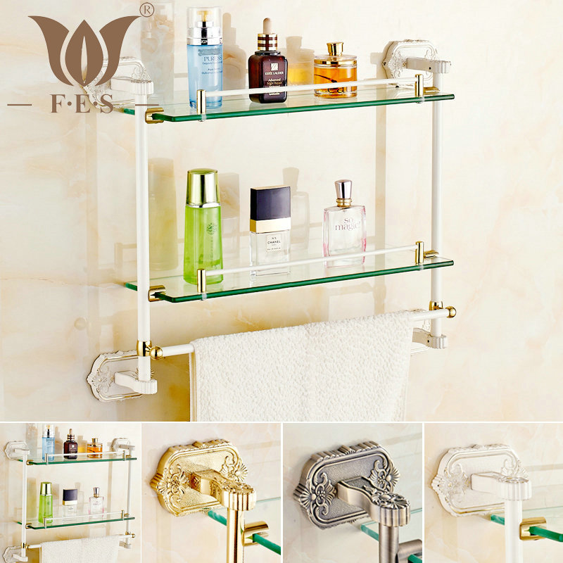 White/Gold Polished/Antique Bronze Brass Wall Mounted Bathroom Accessories Bathroom Shelf Single/Double Rack With Towel Bar(China (Mainland))