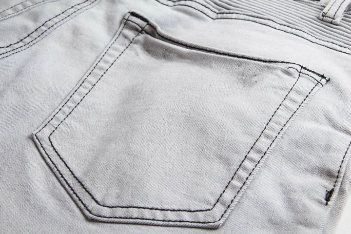 jeans series light grey pleated hole patch locomotive  cultivate morality men's trousers