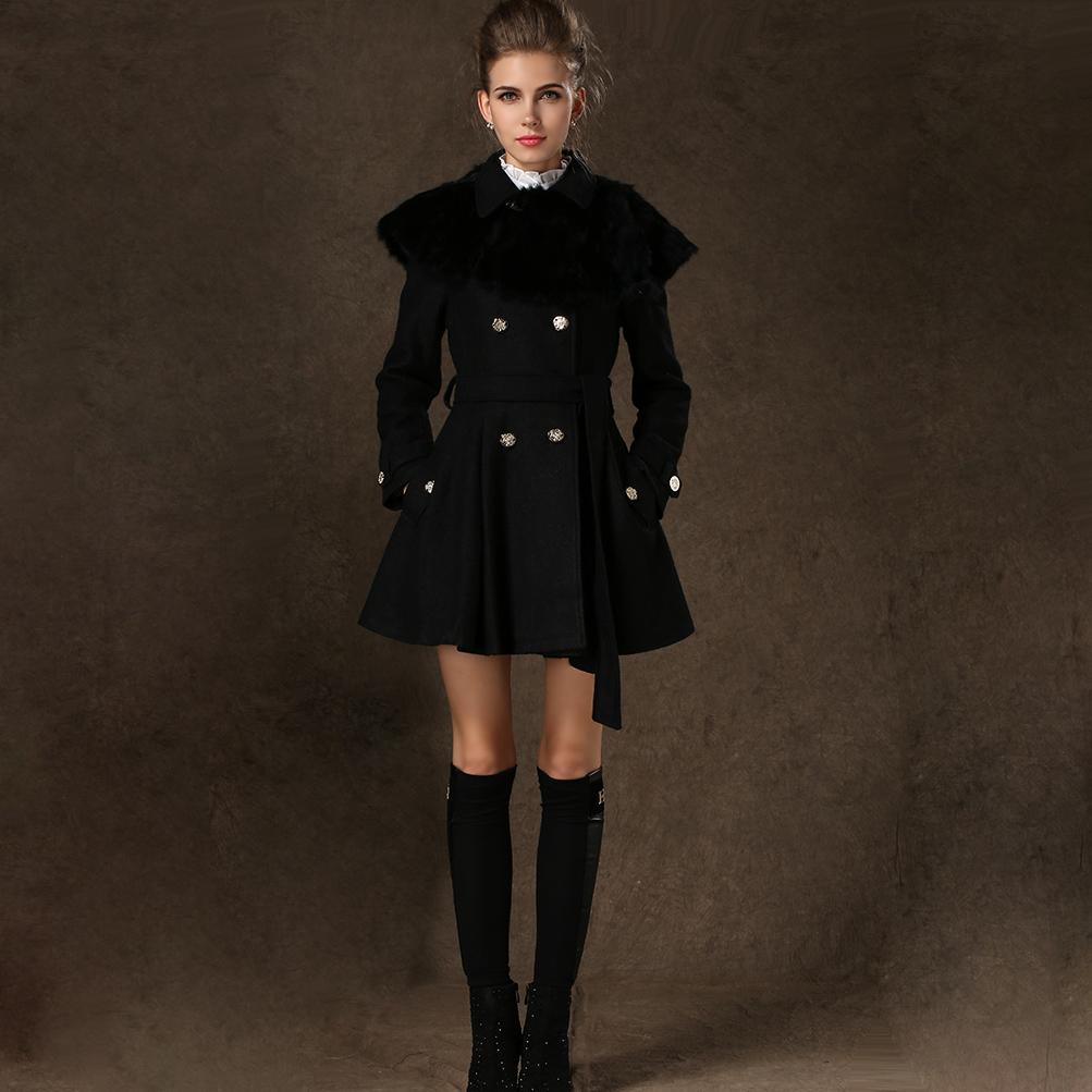 2015 new hiver laine coupe vent lapin fourrure amovible cape manteau manteau polaire veste. Black Bedroom Furniture Sets. Home Design Ideas