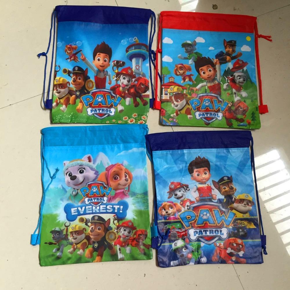 dog cartoon patrol non-woven fabrics drawstring backpack,event party gift loot bag(China (Mainland))