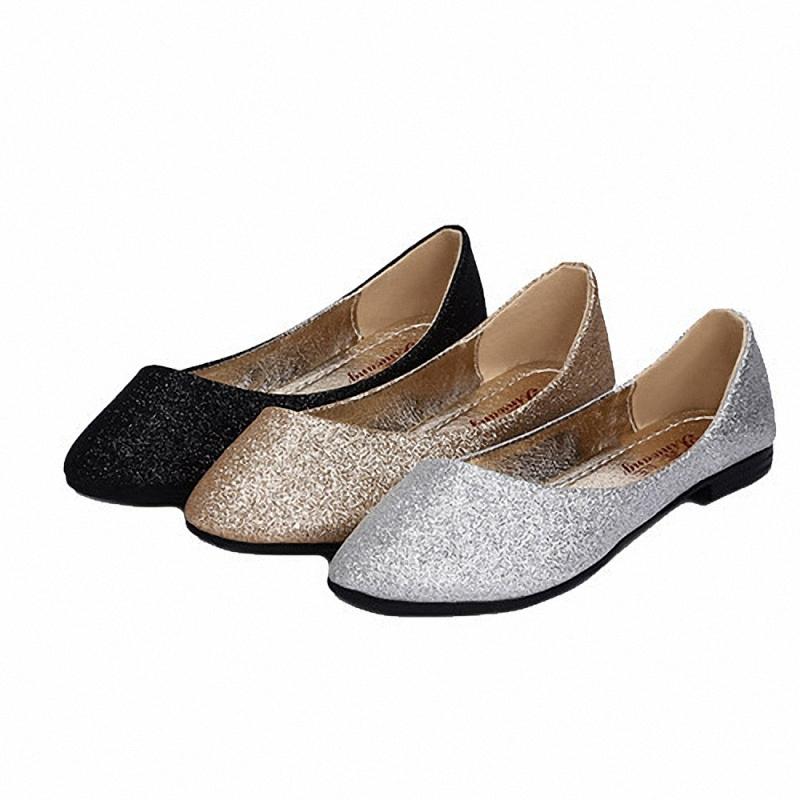 Glitter Flat Shoes Spring Autumn Pointed Toe Offce Career Women Flats Sapatos Feminino Solid Glitter Flat Shoes(China (Mainland))