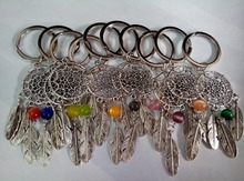 Dream Catcher Turquoise Feather Tree Leaf Dreamcatcher Keychain Ring Keys DIY Bag Key Chain Christmas Gift Jewelry Accessories(China (Mainland))