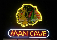 Chicago Blackhawks Hockey Man Cave Handcrafted Neon Sign Neon Light Sign Beerbar Sign Neon Beer Sign 24x20.Free Shipping!(China (Mainland))
