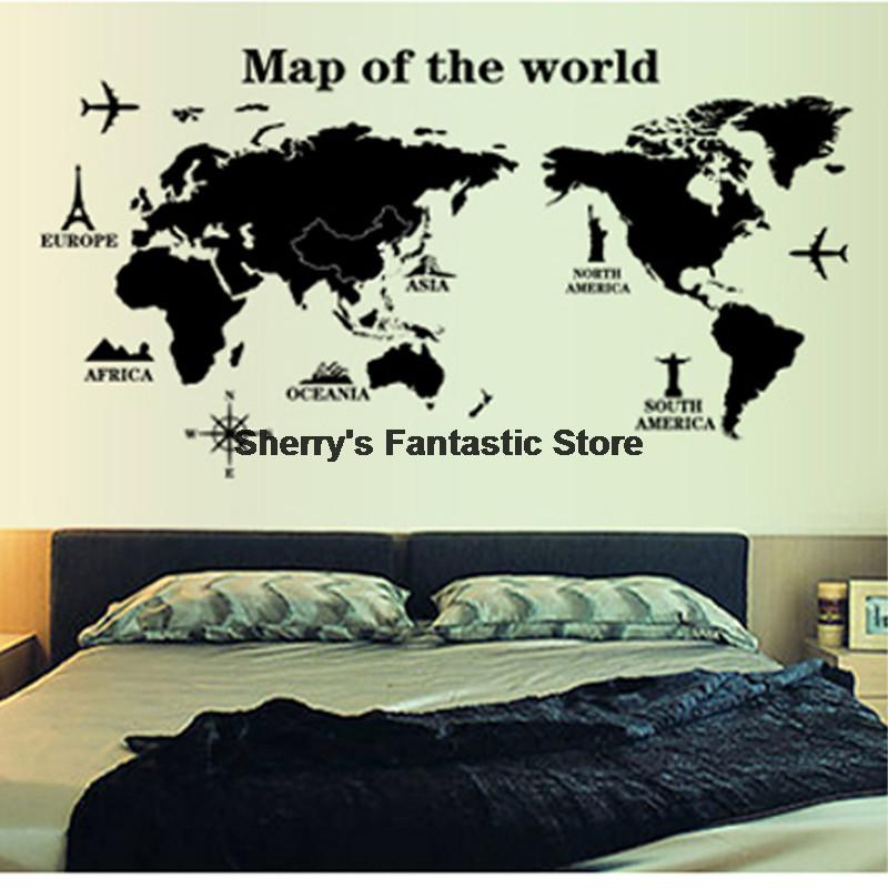 Global World Map Letters Profile Black Simple Design Removable Wall Stickers Nautical Decor Vinyl Wall Art Decal Sticker Kids(China (Mainland))