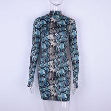Dulzura strechy נחש ארוך שרוול מיני שמלת 2018 קיץ סתיו נשים נחש עור הדפסת סקסי bodycon מפלגת שמלות(China)